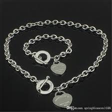 silver necklace bracelet set images Best christmas gift 925 silver love necklace bracelet set wedding jpg