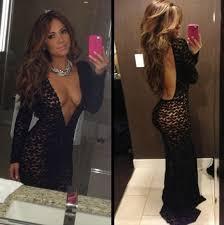 All Black Prom Dress Lace Black Open Back Evening Dresses V Neck Long Sleeves See