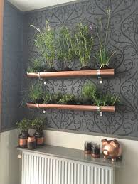 indoor vertical herb garden pvc gutter and copper spray paint to