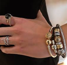 leather bracelet with silver charm images Pandora bracelet stack with gold and silver charms and black jpg