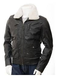 mens black leather jacket with sheepskin fur collar ruby leather