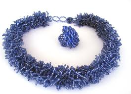 Denim Blue Pom Pom Choker Necklace And Rosette Ring Denim Blue The Dw Group