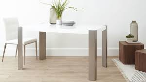 small white dining table modern white gloss dining table brushed steel legs 6 seater