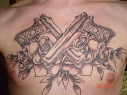 gun tattoos on chest pistol tattoos designs and ideas page 44
