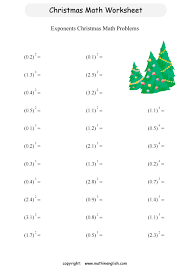 printable christmas exponents activity for sixth graders