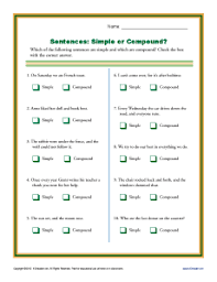 simple or compound sentence worksheets 1st through 3rd grade