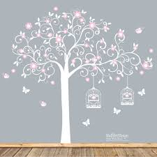 Flowers For Birds And Butterflies - cute whimsical nursery vinyl decal tree swirl tree with pink