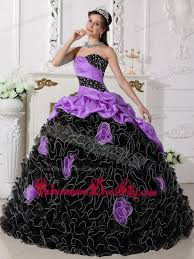 and black quinceanera dresses purple and black sweetheart floor length beading and rolling
