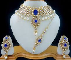 gold tone necklace set images Blue kundan pearl gold tone choker necklace set 4 pcs bollywood jpg