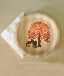 autumn equestrian thanksgiving themed paper plates 8