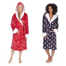 ladies womens dressing gown flannel fleece christmas robe novelty