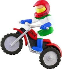 dirt bike racer personalized ornaments by