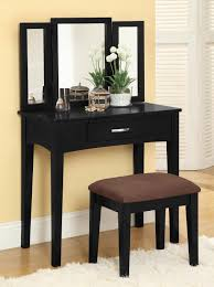 Small Makeup Vanity Broken White Stained Wooden Make Up Table With Rectangle Frameless