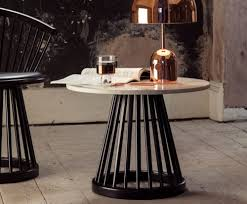fan table black base black oak top 60cm by tom dixon