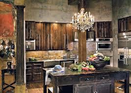 interior elegant chandelier with dark wood table and dark wood