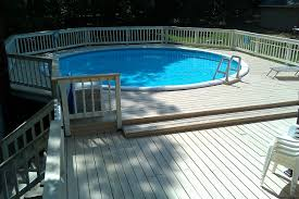 Small Backyard Pool by Unique Wooden Deck Above Ground Small Backyard Pools Ideas With