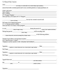 child travel consent form usa one parent travel consent form