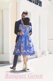 2016 royal blue knee length homecoming dresses long sleeves lace