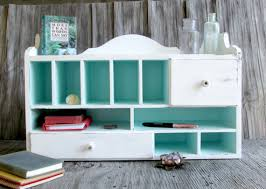 White Desk Organizer Shabby Chic Desk Organizer White Chippy Paint Robin S Egg Blue