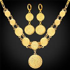 pendant necklace earring images Kpop coin set round pendant necklace earring gift gold color money jpg