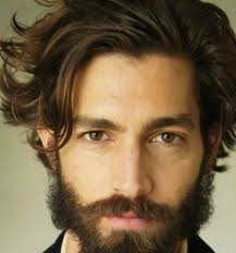 awesome classic messy long hair with thick beard with mens long