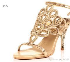 wedding shoes in sri lanka 2015 fashion gold sandal floral rhinestones 8cm high heels