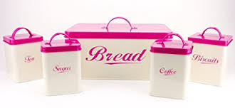 pink canisters kitchen amazon com 5 set container bread box biscuit coffee tea