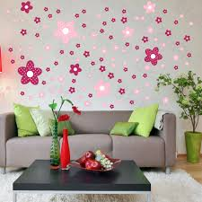 pink flower wall decals on living room 5617 home decorating