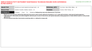 Maintenance Technician Job Description Resume by Instrumentation Technician Cover Letter