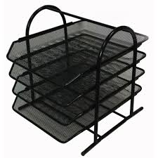 Black Wire Mesh Desk Accessories Buddy Products Mesh 4 Tier Letter Tray Zd018 4 The Home Depot