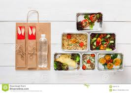 healthy food delivery daily meals top view copy space stock