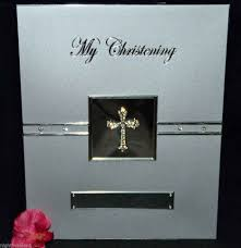 christening photo album my christening silver diamante cross photo album heartfelt