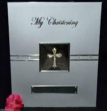 christening photo album my christening silver diamante cross photo album heartfelt