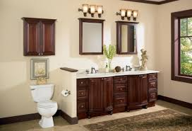 neutral flax bathroom shows corner vintage wooden vanity set with