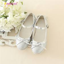 kids silver shoes girls shoes party wearing low heel fashion