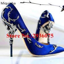 wedding shoes embellished heel blue satin floral metal leaves embellished stiletto high heels