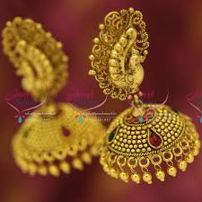 antique gold jhumka earrings j5205 antique gold plated nagas stylish peacock broad jhumka