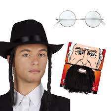 beard halloween costumes jewish rabbi lot hat sideburns beard glasses mens fancy dress