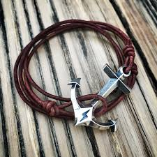 leather sterling bracelet images Strength hold fast anchor leather bracelet sterling silver honor jpg