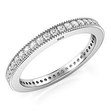 eternity wedding bands 2mm sterling silver 925 cz cubic zirconia eternity