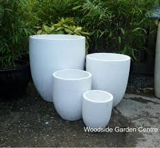 large white terrazzo tall u pot planters woodside garden centre