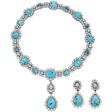 round turquoise necklace images Turquoise diamond cluster drop necklace with matching earrings jpg