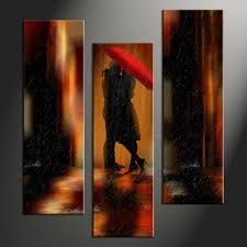 Home Wall Art Decor 3 Piece Canvas Brown Oil Paintings Modern Pictures
