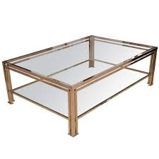 1960 u0027s french two tier chrome and glass coffee table at 1stdibs