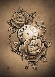 the 25 best clock and rose tattoo ideas on pinterest watch
