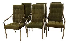 chromcraft green velvet u0026 brass dining chairs set of 6 chairish