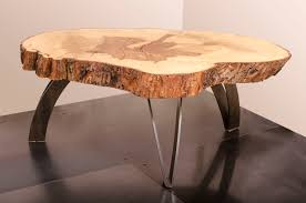 live edge round table hand made coffee table live edge maple weathered steel by visual
