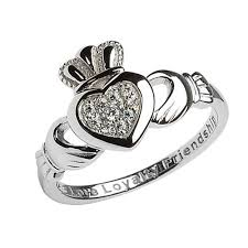clatter ring sterling silver pave set claddagh ring claddagh jewellers