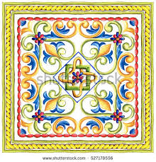 ornament on italian tiles majolica cyan stock illustration