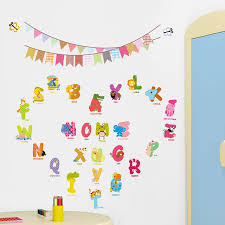 Letter Wall Decals For Nursery 1312 Animal Characters Letters Wall Sticker Flag Nursery
